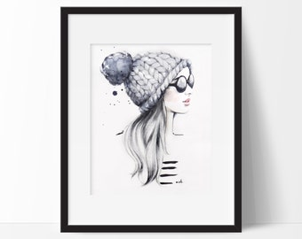 """Fashion Illustration, Fashion Print, Original Watercolor Illustration Titled """"She Said She Had A World Of Her Own"""", Girly Wall Art"""