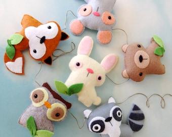 Felt Woodland Animal Toy Set Garland Banner Sewing Pattern - Tutorial - PDF ePATTERN - Raccoon, Fox, Bear, Bunny, Mouse & Owl