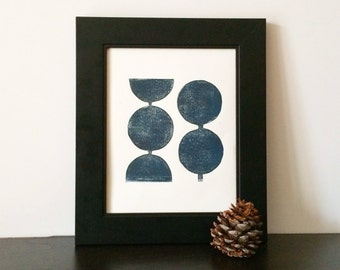 Midnight Blue Modern Linocut Decor Geometric Circles Art Print 8 x 10 Polka dot for dude
