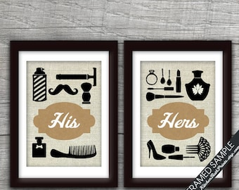 His and Hers Bathroom Prints - Set of 2 - Art Print (Featured in Brown Bag) Customizable Bathroom Prints
