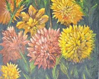 """Vintage Floral Oil Painting, 15"""" x 19"""" Signed Clements, Yellow, Pink & Orange Mums"""