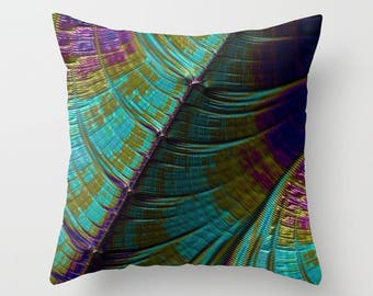 Color Wave Throw Pillow - one of a kind contemporary design, turquoise purple olive green home decor - bedding, living room, or outdoors