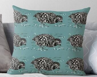 Partridge lino cut design cushion (teal)