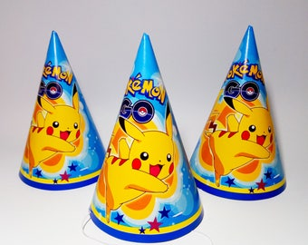 Pokemon party hats  10 pcs. Pikachu Party hats for children's holiday, party or birthday. Pokemon party. Pikachu birthday hats.