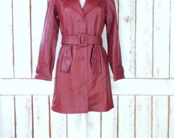 90s vintage long red burgundy/maroon leather trench coat/leather spy coat/belted leather jacket