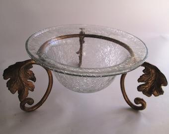 Vintage Crackled Glass Bowl w/ Brass Stand, Crackled Glass Rimmed Bowl, Leaf Shaped Stand, Burnished Gold Stand, Clear Crackled Glass Bowl