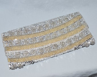 Vintage Clutch - Bags by Debbie, Made in Hong Kong, Silver and Cream Beaded