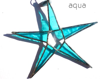 Aqua Turquoise Stained Glass Star Suncatcher