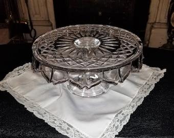 Crystal pedestal cake stand dish Shannon Godinger Crystal