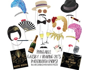 Great Gatsby Photo Booth Props Roaring 20s Twenties Printable Photobooth Sign Wedding Jazz Age Theme 1920s Flapper Hollywood Glamour Party