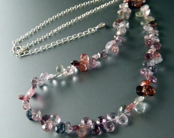 Dance of color  - microcut rainbow color spinel sterling silver necklace