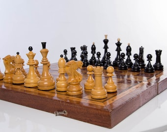 Fathers day Sale !!! Soviet tournament chess set with weightlifters 70s USSR Wooden Board 50x50 cm Old Deck