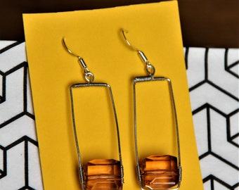 Brown cube Earrings, Brown transparent bead