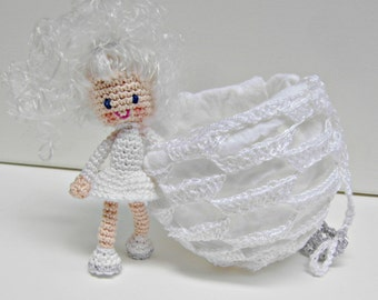Crochet Doll Pattern - Smilla the Snowflake Girl, Amigurumi Doll with Crochet Ball