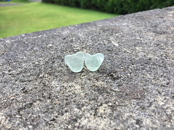 Seafoam Green, Surf Tumbled, Heart Shaped Seaglass, Hypoallergenic Stainless Steel Stud Earrings