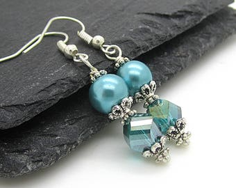 Teal Bridesmad Pearl Drop Earrings Bridesmaid Jewellery Bridal Pearl Earrings Crystal Gift Sets Turquoise Wedding Bridal Party Gifts