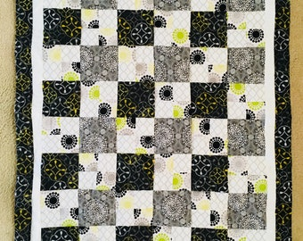 Squares of Circles Baby Crib Quilt Blanket Black and White with Green and Yellow Accents