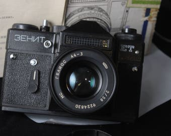 Retro ZENIT ET Russian 35mm CAMERA with Helios 44-3 lens Vintage
