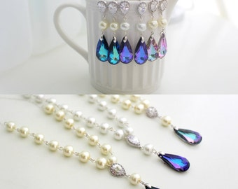 Bridal Jewelry Set Pearl, Earrings and Necklace Bridesmaid Set, Peacock Wedding Jewelry, Lavender Teardrop Swarovski Jewelry, Purple Wedding
