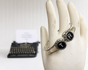 vintage typewriter bracelet initial {two letters} authentic