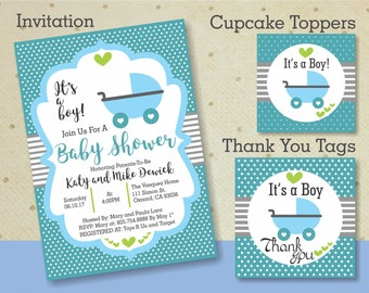 Stroller Baby Shower Package Boy - Printable Baby Shower Set - Baby Shower Stroller Invitation, Cupcake Toppers, and Thank You Tags. Boy