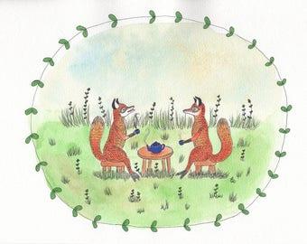 A pair of foxes having tea art print