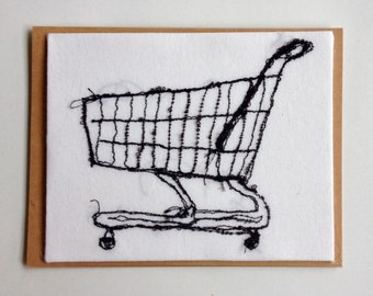 Art Cards---Stitched Shopping Cart