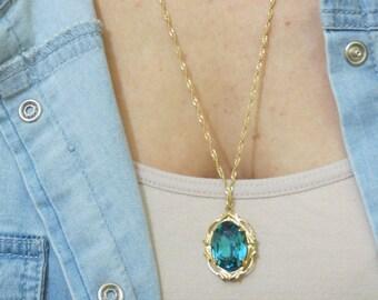 Deep Blue swarovski necklace, gold necklace, 14k gold filled, long necklace, Deep Blue crystal, stone necklace