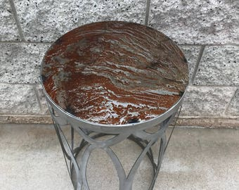 Natural Rust Patina, Steel Table, Handmade in US