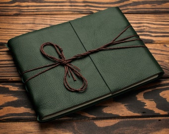 Leather Journal or Leather Sketchbook, Large Sized, Forest Green Leather Handbound Photo Album