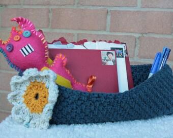 Blue Crochet Basket with Flower Motif