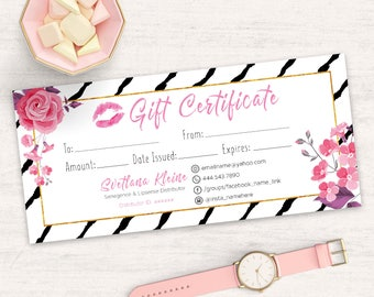 LipSense Gift Certificate, Senegence Gift Card, Lipsense Gift Card, Makeup Gift, Pink and Gold, Floral, For Distributor, Free Personalized