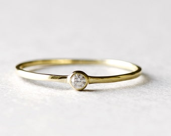 14k Yellow Gold Bezel Solitaire Dainty Ring, Minimalist Ring, Yellow Gold Ring, Thin Ring, Simple Gold Ring, Stacking Ring, Gift For Her