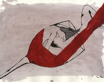I love red wine because you love red wine - Original erotic pen and ink drawing on paper by Ina Mar, signed