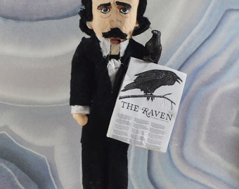 "Edgar Allen Poe Nutcracker 8"" Size Macabre Art One of a Literary Art Goth Poets"