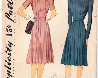 Vintage 1941 Simplicity 3789 Sewing Pattern Misses' Dress Size 18 Bust 36