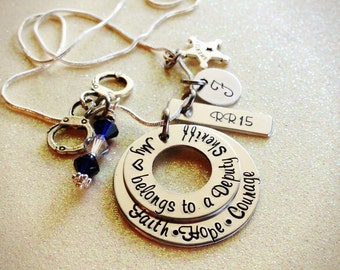 Custom Hand Stamped Sheriff Deputy Wife and Girlfriend Necklace
