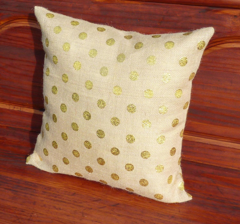 Polka Dot Burlap Pillow Covers Zippered Pillow Decorative