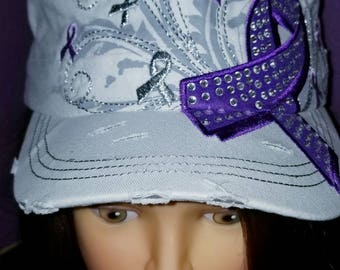 White and Purple Awareness distressed hat