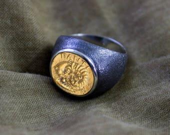 Ram Coin Ring, Ram Ring, Men Silver Coin Ring, Ancient Coin Ring, Silver Ring - Silver Men Ring-Silver Women Ring, Men Ring, Women Ring