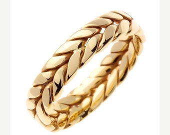 TAX Season Sale 14 kt Gold Braided Hand Crafted 6mm Wide Commitment or Wedding Band Custom made Size 9.5 through 14
