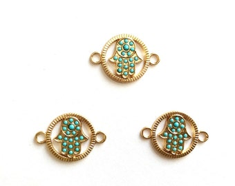 1pc- Matte Gold Plated Hand Connector with blue bead-27x20mm-(006-048)