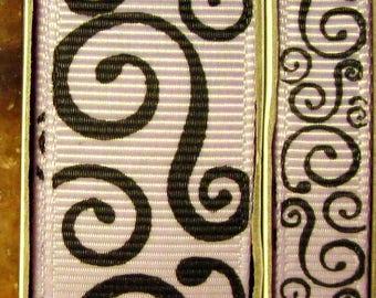 "2 Yards 3/8"" or 7/8"" US Designer Light Orchid - Lilac w/Black Scroll - Swirl Print Grosgrain Ribbon"