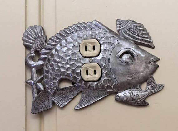 "Lighting, Metal Outlet Light Covers, Sea life, Fish, Haiti, Handmade From Recycle Oil Drum (Outlet)  9"" x 6"""