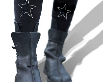 Sparkle Star Tights - Silver Printed Stars