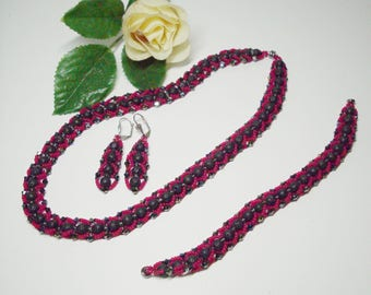 Elegant Jewelryset in black-red