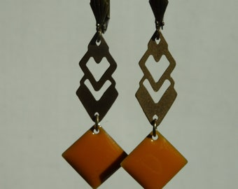 Graphic EARRINGS mustard yellow and bronze