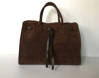 Brown leather tote, Suede leather tote, Leather  bag, Suede leather tote bag , Leather Purse, Brown Hanna bag