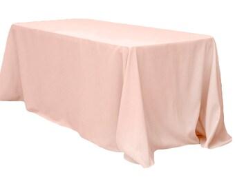 90 x 156 inch Rectangular Blush Tablecloth Polyester | Wedding Tablecloth
