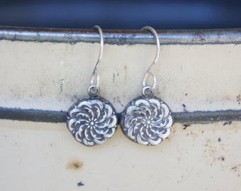 Handmade Fine Silver Earrings with an Antique Pattern